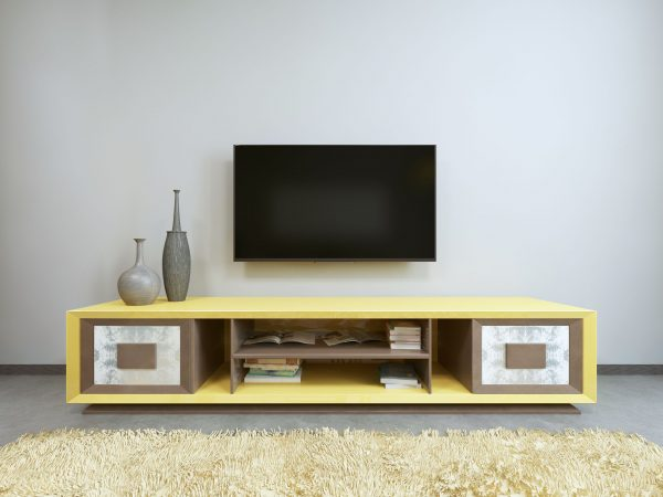 TV unit in living room with yellow TV on the wall. 3D render.
