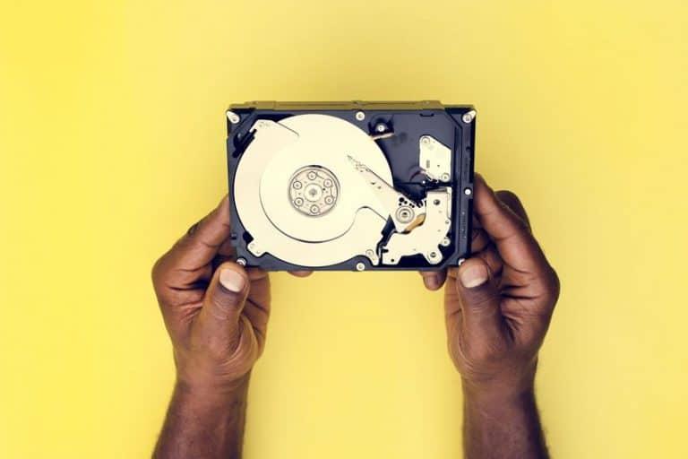 Un hard disk visto dall'alto