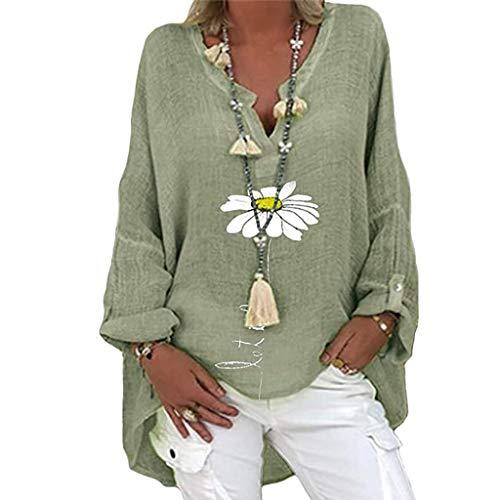 Camicia Donna Elegante Camicetta Donna Bluse Camicie Blusa Scollo V Casuale Camicetta Top Donna Taglie Forti Camicia Casual con Scollo a V Manica Lunga Stampa Floreale (XL,2verde)