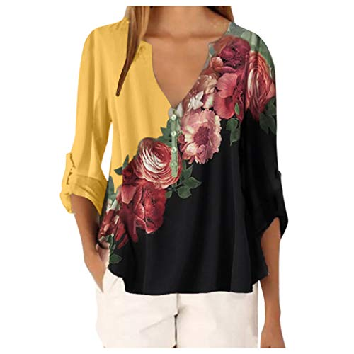 Xmiral Camicetta Tee Top Donna Casual Top Shirt Donna Scollo a V Stampa Floreale T-Shirt Allentata (XXL,1Giallo)
