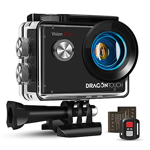 Dragon Touch WiFi Action Cam 20MP Subacquea Ultra HD Action Camera 4K, Schermo da 2 Pollici 170° Grandangolare, 1050mAh Batterie Custodia 30m Impermeabile con Telecomando e 20 Kit di Accessori