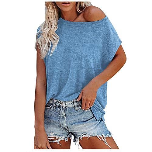 Xmiral Camicetta Top T-Shirt Donna Casual Tinta Unita Tinta Unita Tasca sul Petto Manica Corta ( 3XL,Blu )
