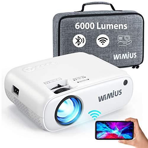 WiMiUS Proiettore WiFi Bluetooth, Mini Videoproiettore 6000 Lumen Supporto 1080P Full HD, Proiettore Portatile per Telefono Compatibile con HDMI / PS4 / USB / TV Stick, Proiettore 250