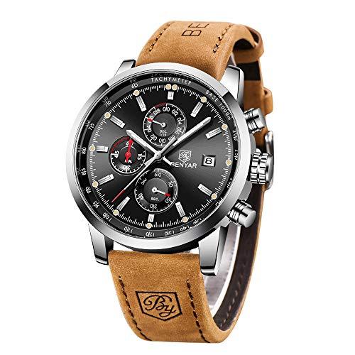 BY BENYAR Orologio Uomo Cronografo Movimento al Quarzo Moda Sportivo Watch Cinturino in pelle Quadrante Nero 30M impermeabile Elegante Regalo per Uomo