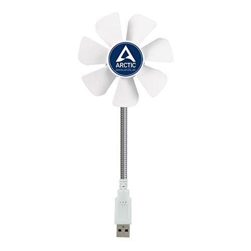 ARCTIC Breeze Mobile - Mini Ventilatore da Tavolo USB con Collo Flessibile, Ventilatore Portatile per Casa e Ufficio, Ventilatore USB Silenzioso, Velocità di Ventilazione 800-1800 RPM - Bianco
