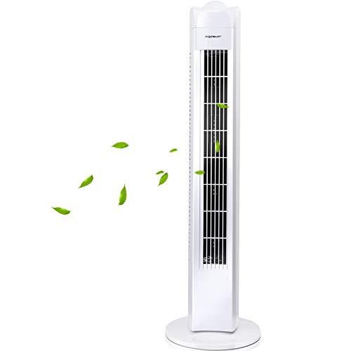 Aigostar Duke - Ventilatore a torre oscillante 50W, ventilatore a colonna da 3 velocità, cavo lungo 180cm e altezza 77 cm, maniglia per il trasporto, colore bianco, per ufficio e casa.