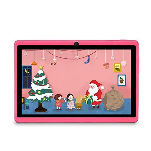 Haehne 7 Pollici Tablet PC, Android 9.0 Certificato da Google GMS, 1GB RAM 16GB ROM Quad Core, 1024 * 600 HD, Doppia Fotocamera, WiFi, Bluetooth, per Bambini e Adulti, Rosa