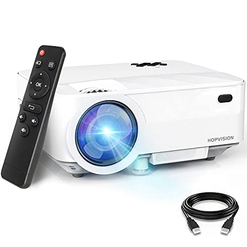 """HOPVISION Mini Proiettore 1080P Full HD,Video Proiettore Portatile 6500 Lumen con Display da 240"""",Proiettore LCD per 90000 ore,Compatibile con HDMI/AV/USB/SD/VGA"""