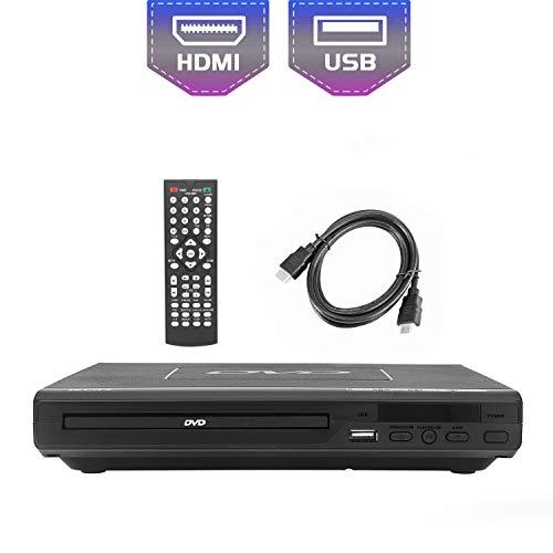 KCR Lettori DVD per TV,DVD/CD/MP3/MPEG4 con presa USB, uscita HDMI e AV (cavo HDMI e AV incluso), Telecomando, colore nero, per tutte le regioni (non leggere Blu-ray)