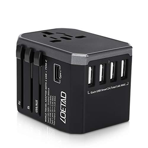 LOETAD Adattatore Universale da Viaggio con 4 Porte USB 3.0 e 1 Interfaccia Type-C 2000 W per Negli Stati Uniti, Regno Unito, Europa, Asia, ecc.