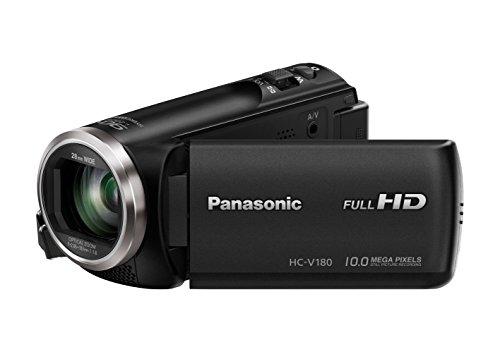 Panasonic HC-V180EG-K Videocamera Full HD (sensore da 1/5, 8 pollici, Full HD, zoom ottico 50x, grandangolo da 28 mm, stabilizzatore d'immagine a 5 assi opzionale OIS ibrido +) nero