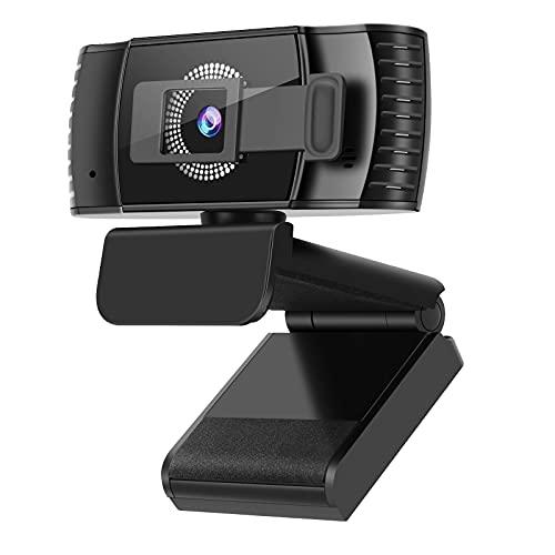Kaulery Webcam 1080p Full HD, Autofocus e Microfoni con Riduzione del Rumore, Telecamera PC per Video Chat e Registrazione, Compatibile con Windows Mac Videocamera USB Plug and Play