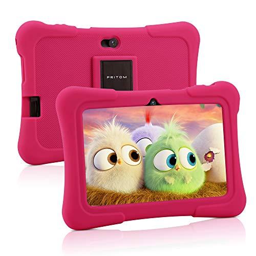 Pritom, tablet per bambini da 7 pollici, Quad Core, Android 10, 16 GB ROM, Bluetooth, Wi-Fi, doppia fotocamera, controllo parentale (rosa)
