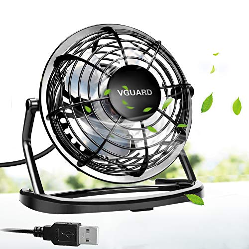 Mini Ventilatore USB, VGUARD 4 Pollici Portatile 360° Girevole Ventilatore da Tavolo Silenzioso Mini Fan Compatibile con Notebook, Computer, PC Desk per la Casa, Ufficio, Campeggio, e Altro - Nero