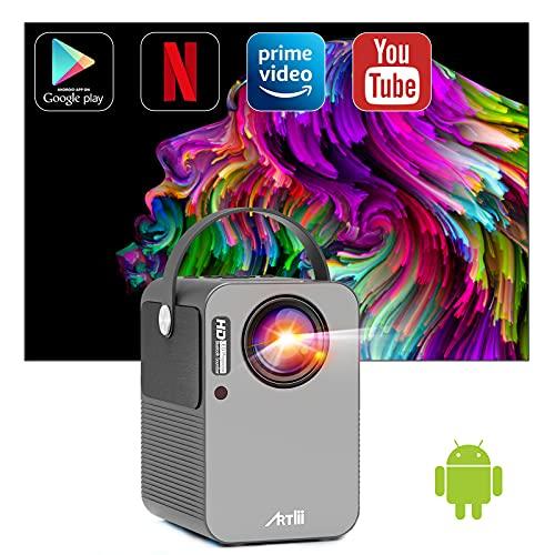 Proiettore Smart Android TV 9.0 Artlii Play Pro Mini Proiettore Videoproiettore Wifi Bluetooth Correzione 4D ± 45° AC3 Stereo Home Theater con Netflix, Prime Video