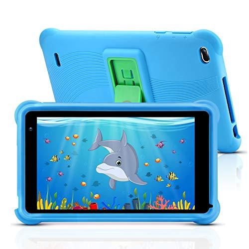qunyiCO Tablet da 7 Pollici per Bambini 32GB Android 10.0 Go WiFi Fotocamera 2GB RAM HD Touch Screen 1024 * 600 Custodia a Prova di Bambino App per Il Controllo parentale su Google Certified Blu