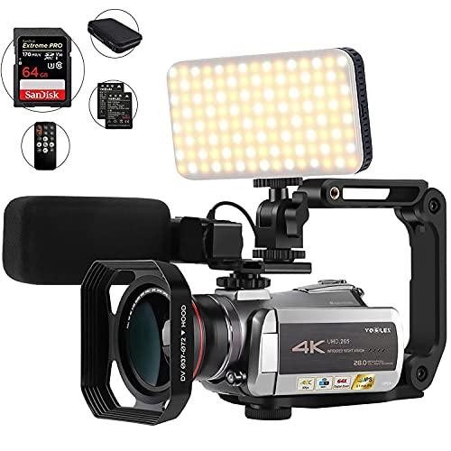Videocamera 4K, con zoom digitale 64X, connessione con luce LED/microfono e altri accessori (borsa DV e scheda SD da 32 GB)