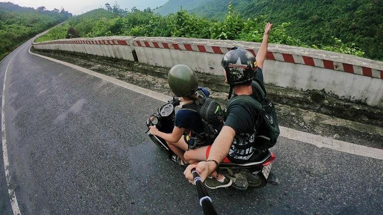 Selfie-Stick Motorrad