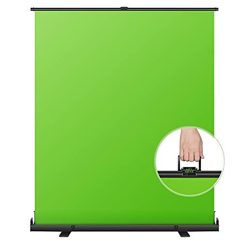 Neewer 148×180cm Fondale Schermo Verde Pieghevole Portatile Chroma Key per Sfondo, Stile Pull-up con Telaio autobloccante, Base Solida in Alluminio per Foto, Video, Gioco dal Vivo, TikTok Video