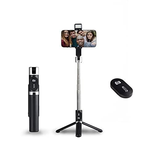 NEOBASE | Bastone Selfie Stick Con Treppiede Per Smartphone | Cavalletto Cellulare Con Telecomando Bluetooth E Luce Incorporata