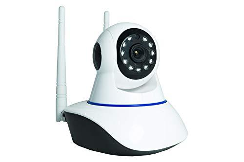 TELECAMERA IP DUE ANTENNE CAMERA HD 720P WIRELESS LED IR LAN MOTORIZZATA WIFI RETE INTERNET tasto reset sotto obiettivo