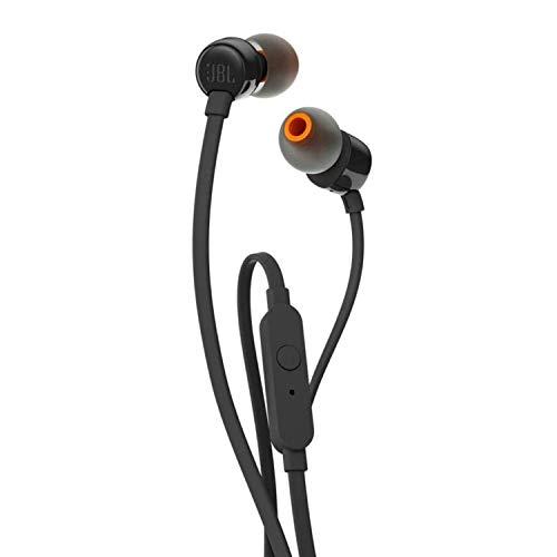 JBL T110 Cuffie In Ear con Microfono, Cavo Piatto Antigroviglio, Comando a un pulsante, JBL Pure Bass Sound, Nero