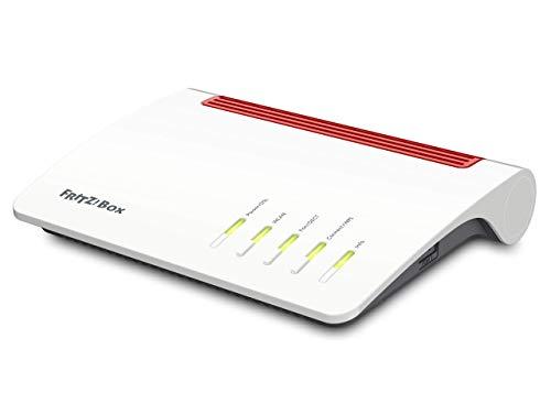 AVM FRITZ!Box 7590 International Modem Router, Wireless Veloce AC+N 2533 Mbit/s, Telefonia Analogica, ISDN e VoIP, Base DECT, Media Server, Bianco/Rosso, (Verifica compatibilità con la tua linea)