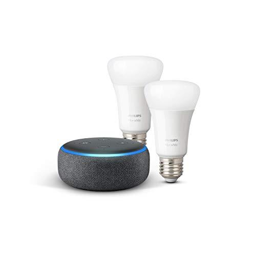Echo Dot (3ª generazione) - Tessuto antracite + Lampadine intelligenti a LED Philips Hue White, confezione da 2 lampadine, compatibili con Bluetooth e Zigbee (non è necessario un hub)