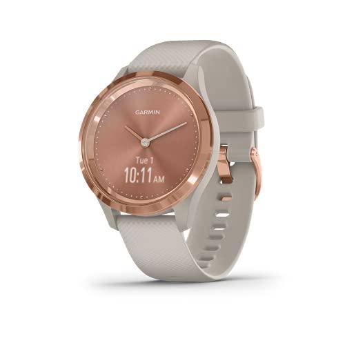 Garmin Vivomove 3S Smartwatch ibrido con lancette dell'orologio reali e display touchscreen nascosto, silicone sabbia chiaro con hardware oro rosa 39 mm