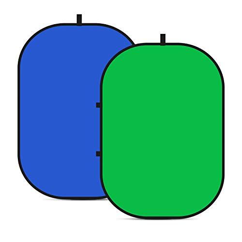 Neewer Chromakey Fondali, Schermo Verde Doppio Lato e Schermo Blu, 2-in-1 Sfondo Pieghevole e Reversibile per Fotografia, Giochi e Live Streaming, 1,5 m × 2m