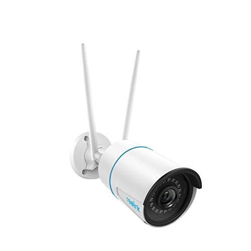 Reolink Telecamera di Sicurezza IP CCTV WiFi 2,4/5 GHz 5MP per Esterni con Rilevamento di Persone e Veicoli, Visione Notturna, Impermeabilità IP66, Slot per Scheda Micro SD e Time-Lapse, RLC-510WA
