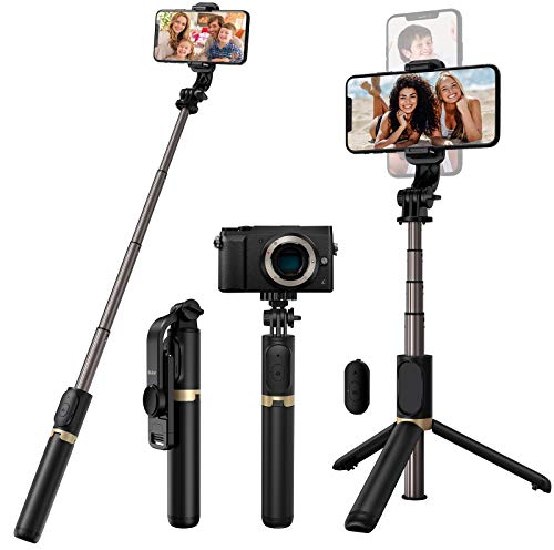 Blukar Bastone Selfie, 4 in 1 Bastone Selfie Bluetooth Treppiede Selfie Stick Estensibile con Telecomando Wireless Rimovibile & Treppiedi Stabile per Gopro/Camera, 4.7-6.7 Pollici Smartphone