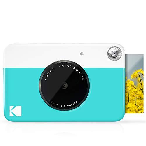 KODAK Printomatic Fotocamera istantanea Blu Foto a colori su carta fotografica Zink Zero Ink 2x3 con retro autoadesivo