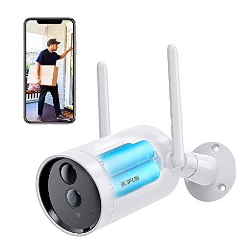 Telecamera WiFi Senza Fili da Esterno,BOIFUN Sicurezza Sorveglianza con 10400 mAh Batteria,1080P,Rilevamento del Movimento Umano, Audio Bidirezionale, Visione Notturna