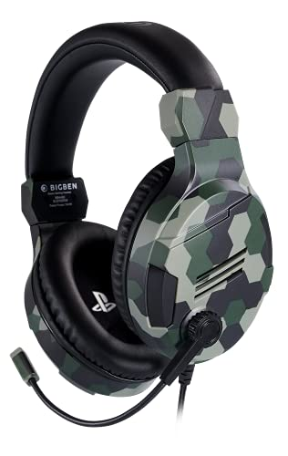 Bigben Cuffie Gaming V3 PS4 PS5 Ufficiale Sony PlayStation, Camouflage Verde