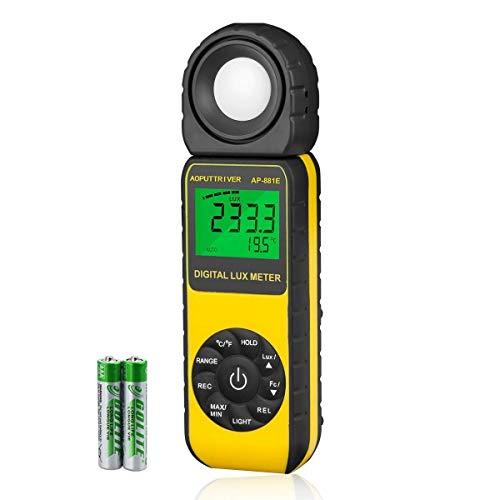 AOPUTTRIVER AP-881E Luxmetro Digitale Gamma Fino a 300.000Lux, Misuratore di Luce Digitale Portatile Temperatura Ambientale con Sensore Girevole 270° per Interni ed Esterni