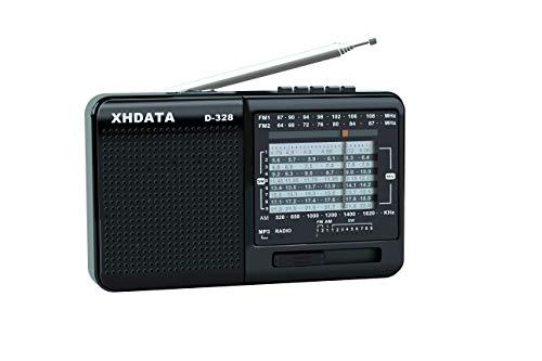 XHDATA D-328 Radio Portatile Rradio multibanda Lettore MP3 Supporto TF Card FM AM SW Full Band Radio (Nero)