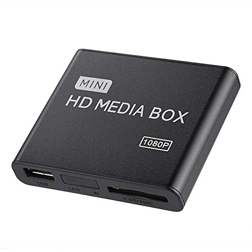 Lettore multimediale HDMI Full HD, Mini lettore multimediale digitale HDMI 1080p Ultra Supporto USB, schede SD MMC RMVB MP3 AVI e MKV (EU)(EU)