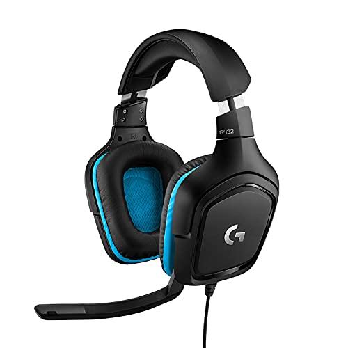 Logitech G432 Cuffie Gaming Cablate, Audio Surround 7.1, Cuffie DTS: x 2.0, Driver Audio 50 mm, Jack Audio USB 3.5 mm, Microfono Flip-to-Mute, Leggere, PC/Mac/Xbox One/PS4/Nintendo Switch, Nero/Blu