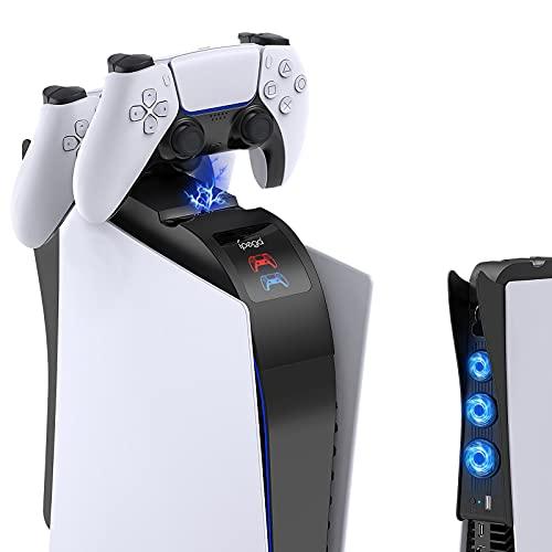 FYOUNG Caricabatterie veloce per PS5 con supporto per auricolari, Dualsense Stazione di ricarica Dock per Dual Playstation 5 Controller con indicatore LED