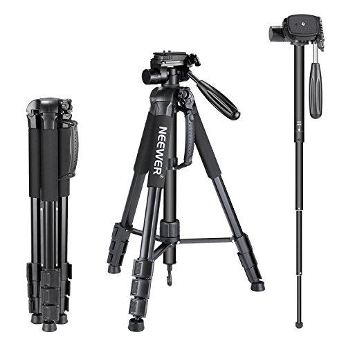 Neewer 10089015, Treppiede monopiede portatile in lega di alluminio con testa pan girevole a 3 vie, borsa da transporto per fotocamera e video camcorder, Nero (black), 177 cm