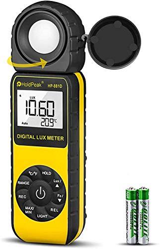 HoldPeak 881D Luxmetro Digitale Professionale, Misuratore di Luce 0.1-400,000 Lux, 1-40,000 FC,Misurare Temperatura,LCD Retroilluminato,Batteria Inclusa