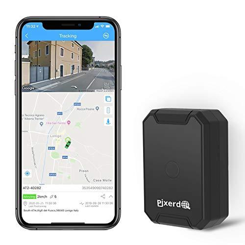 AT1 Magnetica Tracker GPS, 6000mAH Localizzatore GPS per Auto Moto Proprietà con Monitoraggio Vocale, Allarme Velocità Eccessiva/Vibrazioni/Manomissione/Recinzione GEO - Tracksolid APP & Web