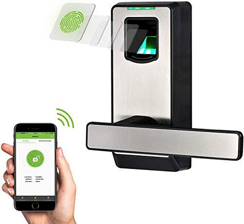 Serratura Intelligente & Biometrica Senza Chiave con catenaccio a doppio cilindro - ZKTeco PL10DB (GER)- Smart Lock lettore di Impronte Digitali-Bluetooth 4.0-App per Smartphone.