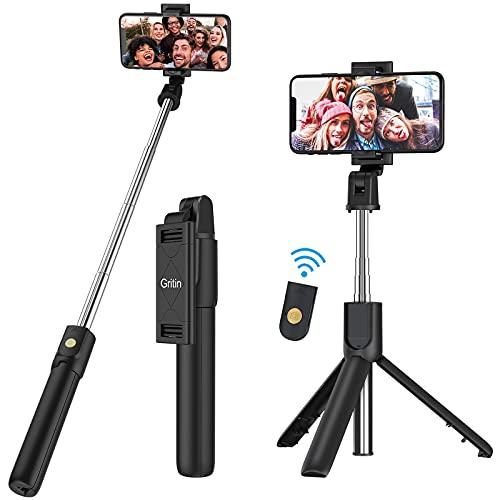 Gritin Bastone Selfie, 3 in 1 Bastone Selfie Bluetooth Treppiede Selfie Stick Estensibile Portatile con Telecomando Wireless Rimovibile & Treppiedi Stabile