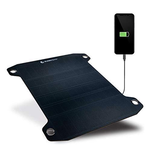 Sunnybag LEAF PRO   Pannello solare flessibile con 7,5 watt   Ricarica smartphone ad energia solare   Porta USB   Caricabatterie solare per l'escursionismo   Vincitore del premio ISPO