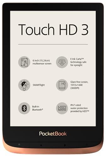 """PocketBook - Lettore eBook """"Touch HD 3"""" (16 GB di memoria; schermo con tecnologia E-Ink da 15,24 cm (6 pollici), Smart light, Wi-Fi, Bluetooth)"""