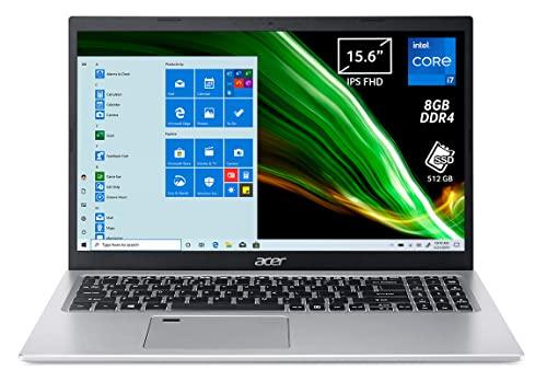 Acer Aspire 5 A515-56-72J0 PC Portatile, Notebook, Intel Core i7-1165G7, Ram 8 GB DDR4, 512 GB PCIe NVMe SSD, Display 15.6