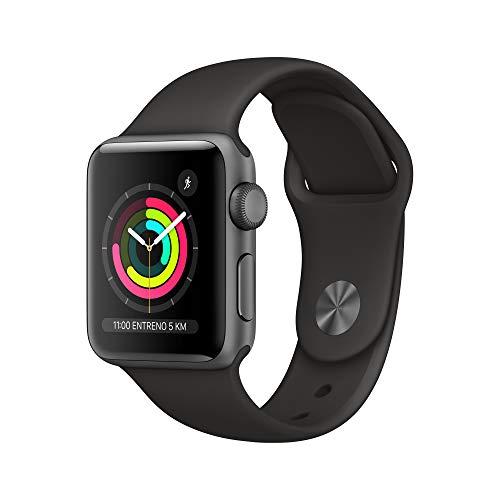 Apple Watch Series 3 (GPS, 38 mm) Cassa in Alluminio Grigio Siderale e Cinturino Sport Nero