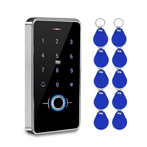 KDL RFID Biometrico Fingerprint Access Controller Impermeabile Touch Tastiera Reader DC12V Apriporta Retroilluminazione Esterna con 13.56 MHz Portachiavi